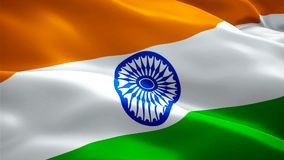 Indianina chorągwiany zbliżenie 1080p Folował HD 1920X1080 materiału filmowego wideo falowanie w wiatrze Krajowy 3d indianina fla ilustracji