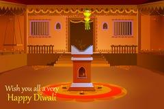Indianina dom dekorował z diya w Diwali nocy royalty ilustracja