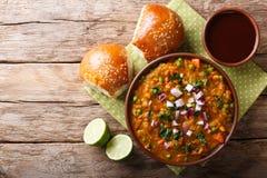 Indianina Mumbai Pav karmowy bhaji od warzyw z chlebowym zakończeniem Zdjęcia Royalty Free