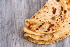 Indianina Paratha mieszkania płatowaty chleb zdjęcia stock