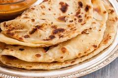 Indianina Paratha mieszkania płatowaty chleb obraz stock