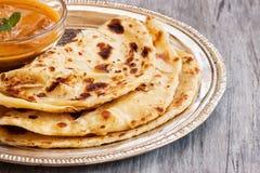 Indianina Paratha mieszkania płatowaty chleb fotografia royalty free