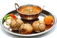 Indianina Rajasthani Dal Bati tradycyjny thali Zdjęcia Royalty Free