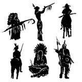 Indianische Kriegersschattenbildillustration Stockfotos