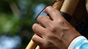Indiankonstnär som spelar flöjten arkivfilmer