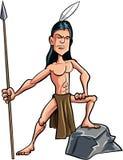 Indiano americano del fumetto coraggioso con una lancia Immagine Stock