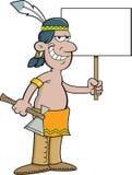 Indiano americano dos desenhos animados que guarda um sinal Foto de Stock Royalty Free