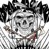 Indiano del cranio con il disegno della mano di vettore dell'arma illustrazione vettoriale