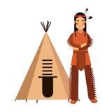 Indiano del nativo americano in costume tradizionale che sta vicino alla sua illustrazione di tepee o del wigwam illustrazione vettoriale