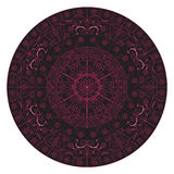 Indiano di arte della mandala in dettaglio complesso rosa nero Immagine Stock Libera da Diritti