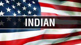 Indiano em um fundo da bandeira dos EUA, rendição 3D Bandeira de Estados Unidos da América que acena no vento Bandeira americana  ilustração stock