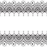 Indiano, linea elemento del hennè di Mehndi del pizzo con i cerchi e carta di modello delle onde per il tatuaggio su fondo bianco royalty illustrazione gratis