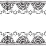 Indiano, linea elemento del hennè di Mehndi del pizzo con la carta di modello dei fiori per il tatuaggio su fondo bianco illustrazione di stock