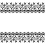Indiano, linha cartão da hena de Mehndi de teste padrão do elemento do laço para a tatuagem no fundo branco Foto de Stock