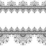Indiano, linha elemento da hena de Mehndi do laço com o cartão de teste padrão dos círculos para a tatuagem no fundo branco Imagem de Stock Royalty Free