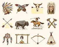Indiano ou nativo americano búfalo, machados e barraca, setas e curva, crânio, Dreamcatcher e cherokee, machado de guerra Grupo d ilustração do vetor
