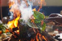Indiano Prirest que faz o yagya, fogo que queima-se na frente do deus fotos de stock royalty free