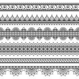 Indiano, un insieme del hennè di Mehndi di sei linee modello degli elementi del pizzo per il tatuaggio su fondo bianco Fotografie Stock