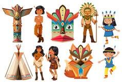 Indianos do nativo americano e artigos tradicionais ilustração stock