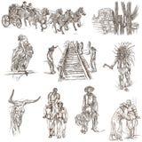 Indianos e oeste selvagem - um bloco tirado mão ilustração stock