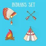 Indianos lisos do projeto ajustados Fotografia de Stock Royalty Free