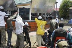 Indianos que gravam um filme em Maurícias Fotos de Stock Royalty Free