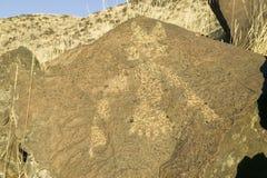 Indianpetroglyphs på den nationella monumentet för Petroglyph, utanför Albuquerque som är ny - Mexiko Royaltyfria Bilder
