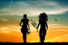 Indians couple at sunset. Illustration of Indians couple at sunset Royalty Free Stock Photography