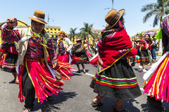 Indians dancing the Historic Center of Lima Royalty Free Stock Images