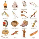 Indians ethnic american icons set, isometric style. Indians ethnic american icons set. Isometric illustration of 16 indians ethnic american vector icons for web Stock Image