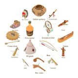 Indians ethnic american icons set, isometric style. Indians ethnic american icons set. Isometric illustration of 16 indians ethnic american vector icons for web Royalty Free Stock Photo