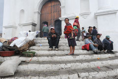 Indians in front of church of Santo Tomas at Chichicastenango Royalty Free Stock Photography