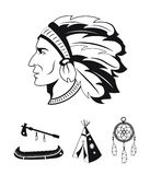 Indians icons set Stock Photo