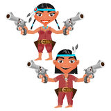 Indians man and woman with modern weapons Royalty Free Stock Images