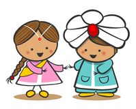 Indians In National Dress. A Boy And A Girl In Traditional Costume. Doodle Cartoon characters. Royalty Free Stock Images