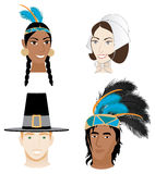 Indians and Pilgrims. Vector Illustration of 4 faces for Thanksgiving. Indians and Pilgrims Stock Photo