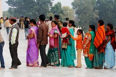 Indians in queue Royalty Free Stock Photos