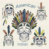 Indians set skulls with different headdresses Royalty Free Stock Photo