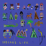 Indians. The symbolic image of the Indians, who are painted in different colors Stock Image