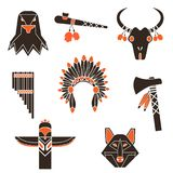 Indians time simple icons set stock illustration