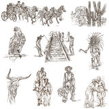 Indians and Wild West - An hand drawn pack. Stock Photo