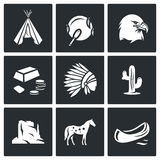 Indians Wild West icons set. Vector Illustration. Royalty Free Stock Photos