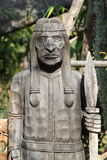 Indians wood carving. Old indians wood carving in the garden Royalty Free Stock Images