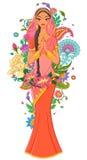 Indiańska dziewczyna w sari otaczającym z kwiatami i ornamentami Wektorowa ilustracja odizolowywająca na biały tle Zdjęcia Royalty Free