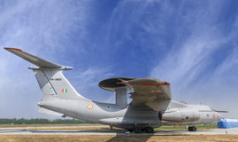 Indiański siły powietrzne AWACS samolot parkujący przy Hindon siły powietrzne Stati Zdjęcie Stock