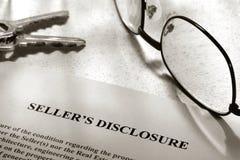 Indicação da divulgação do vendedor dos bens imobiliários Fotografia de Stock