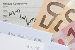 Indicação financeira da carta, de cliente e euro Foto de Stock