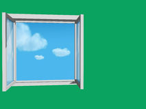 Indicador aberto na parede verde Foto de Stock