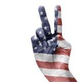 Indicador americano en la mano Foto de archivo libre de regalías