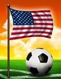 Indicador americano y bola Foto de archivo libre de regalías